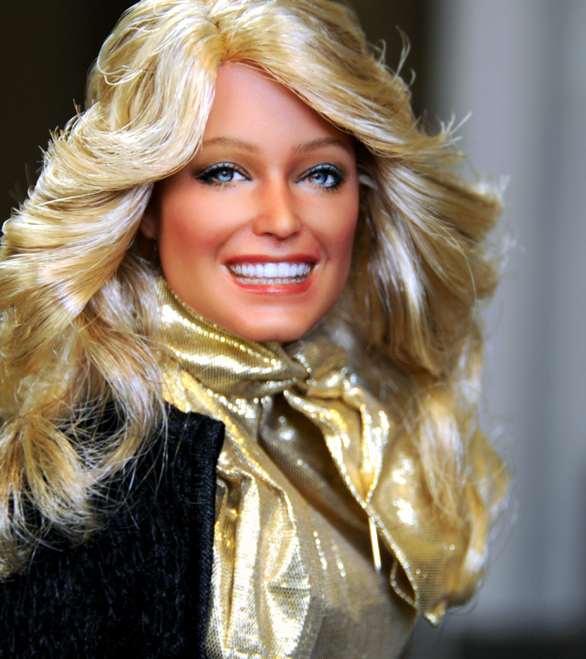 November 2012. Farrah Fawcett (version 1.0). Farrah as painted, styled by artist Noel Cruz for MyFarrah.com. Photo by Noel Cruz.
